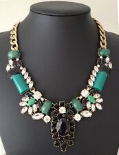NEW Crystal Statement Pendant Collar Necklace Green Acrylic Stones Rhinestone