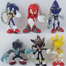 6pcs Sonic the Hedgehog Super Metal Sonic Shadow Knuckles Werehog Key Ring Chain