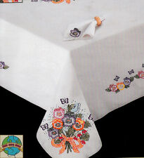 "Embroidery Kit ~ Tobin Pansies & Butterflies 50"" x 70"" Tablecloth #T201490-70"