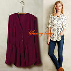 NEW Anthropologie Composed Pintuck Buttondown By Maeve RASPBERRY/Wine