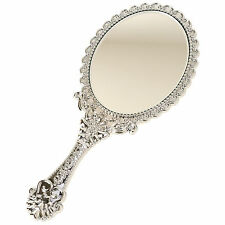 Cute Princess Girls Gift Vintage Style Mini Vanity Hand Held Mirror Silver Small