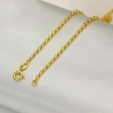 "16.5"" Elegant Pure Solid 18k Yellow Gold Necklace Lucky 2mm Rolo Chain 1.9-2.35g"