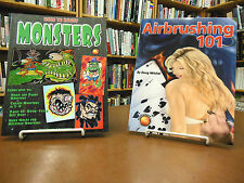 2 book set Airbrushing 101 Doug Mitchel How to Draw Monsters Scheres / Ledney