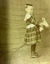 Crazy Antique Photo Boy In Dress & Boots Riding A Pogo Horse & Provenance 1903