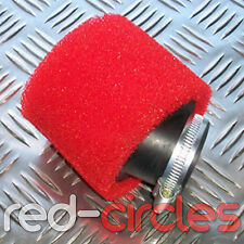 ANGLED RED 38mm PIT DIRT BIKE RACING DOUBLE FOAM AIR FILTER 50cc 110cc PITBIKE
