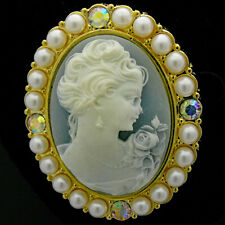 Vintage Victorian Design Queen Lady Cameo Cream Pearl Pin Brooch Gold Tone 3D