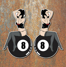 Pin Up Girl 8 Ball Stickers Pair Hot Rat Rod Vintage Classic Car VW Decal