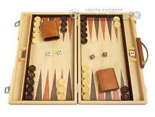 "15"" Wood Backgammon Set - Olive Burl - Classic Wooden Board Game"