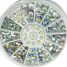3D Acrylic Nail Art Tips Gems Crystal Rhinestones DIY Decoration Wheel Majority
