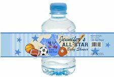 Sports Baby Water Bottle Wrappers - First Birthday or Baby Shower - Set of 12