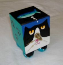 TUXEDO CAT FACE AND HIS DREAM FISH--HAND CRAFTED--CLOCK IS BROKEN