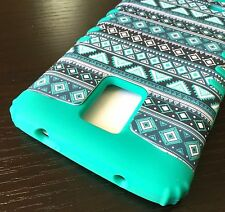 For Samsung Galaxy Note 4 - HARD & SOFT RUBBER HYBRID CASE TURQUOISE GREEN AZTEC