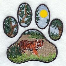 """Tiger, Paw Print, Wild Animal, Exotic Cat Embroidered Patch 5.9""""x6"""""""