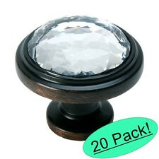 *20 Pack* Cosmas 5317ORB-C Oil Rubbed Bronze & Clear Glass Round Cabinet Knob