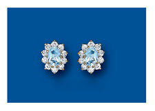 9K Yellow Gold Real Blue Topaz Oval Cluster Stud Earrings - UK Made - Hallmarked
