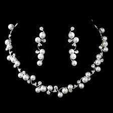 Bridal SP Faux White Pearl & Clear Crystal Flowing Vine Necklace Set