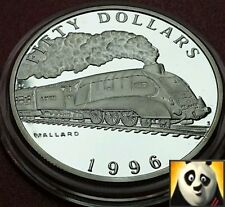 1996 MARSHALL ISLANDS $50 Dollars Steam Locomotive MALLARD Silver Proof Coin