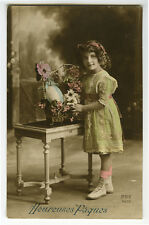 1910s Children Child CUTE GIRL with FLOWERS Easter tinted photo postcard