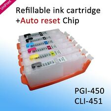 6PCS PGI-450 CLI-451BK C M Y GY with ARC chip refillable ink cartridge MG6340