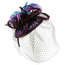 Fancy Sinamay Sequins Spray Feather Net Headband Fascinator Cocktail Hat Purple