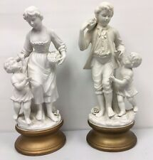 Two Beautiful Antique Bisque White Porcelain Statues 14""