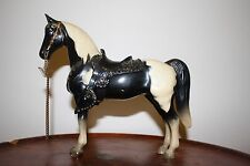 Vintage Breyer Western Pony Black and White Pinto with Black Saddle