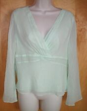 NWT NEW womens size 12P mint green PETITE SOPHISTICATE l/s silk blouse shirt $39