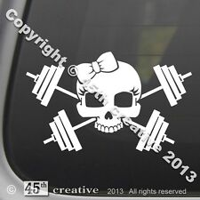 Girl Weight Trainer Crossbones Decal - weight lifting set bars dumbbells sticker