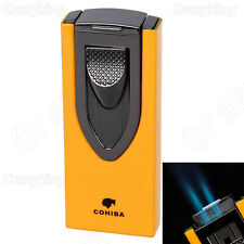 COHIBA Sword Carving Style Metal 2 TORCH JET FLAME CIGAR LIGHTER PUNCH Yellow