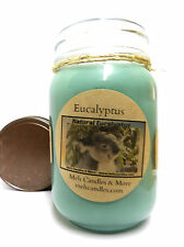 NATURAL EUCALYPTUS 16oz Country Jar Homemade Soy Candle - Helps clear out Lungs