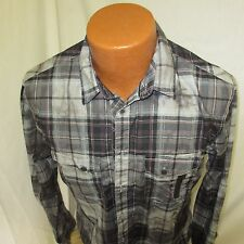 (Small) Men's Guess Black Red Plaid Casual Shirt Regular Fit