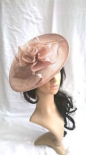 NEW METALLIC NUDE SINAMAY FASCINATOR HAT.Shaped saucer disc,Wedding..races