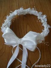 Perfect for Flower Girl or First Communion White Floral Wreath w/pearls NEW!