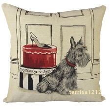 Retro Scottish Terrier Dog Pet Shoe Box Knitted Pillow Case Cushion Cover 18''
