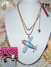 2 PC BETSEY JOHNSON ANTIQUE AIRPLANE W/SPINNING PROPELLER & MISMATCH EARRINGS
