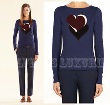 $895 GUCCI SWEATER CASHMERE INTARSIA-KNIT HEARTBEAT NAVY BLUE sz S / Small