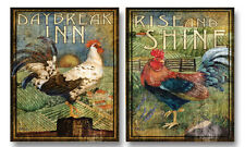 NEW Set of 2 Retro Rooster Art Paper Posters 8x10 in Rise and Shine Daybreak Inn