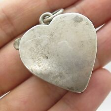 Vtg 925 Sterling Silver Large Heart Locket Pillbox Pendant