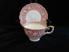 Crown Staffordshire Pink & White Ellesmere Cup & Saucer