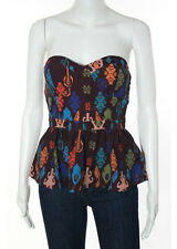 NWT HUNTING BIRD Multi-Color Strapless Abstract Peplum Blouse Top Sz 2