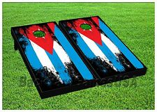 CORNHOLE BEANBAG TOSS GAME Puerto Rico Red White Blue w Bags Game Board Set 506
