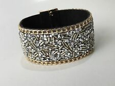 Wide Leather Wrap Wristband Cuff Crystal Rhinestone Magnet Clasp Bracelet