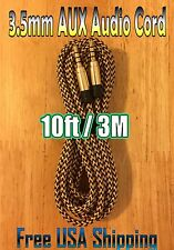 10ft / 3M Metallic GOLD Cord 3.5mm BRAIDED AUXILIARY Audio Cable AUX Male 2 Male