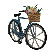 ID 6975 Flower Basket Bicycle Pedal Bike Embroidered Iron On Applique Patch