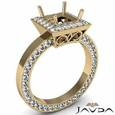 Diamond Engagement Princess 1.47Ct Semi Mount 18k Yellow Gold Pave Filigree Ring