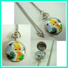 Princess Tinkerbell Women Ladies Girl Pocket Watch Necklace + GIFT