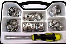 35pc Acero inoxidable Abrazadera de la manguera conjunto Jubileo Clips Con Tuerca Destornillador TZ HW039