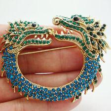 Art Nouveau Dual Faucet Dragon Animal Brooch Pin Blue Rhinestone Crystal
