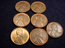 1940 & 1948 LINCOLN CENTS 7 COIN SET ALL NICE BU BROWN CENTS!!! #16