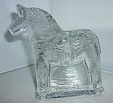 RETRO SWEDISH LINDSHAMMAR SWEDEN ART GLASS DALA HORSE PAPERWEIGHT 10.5cm HIGH